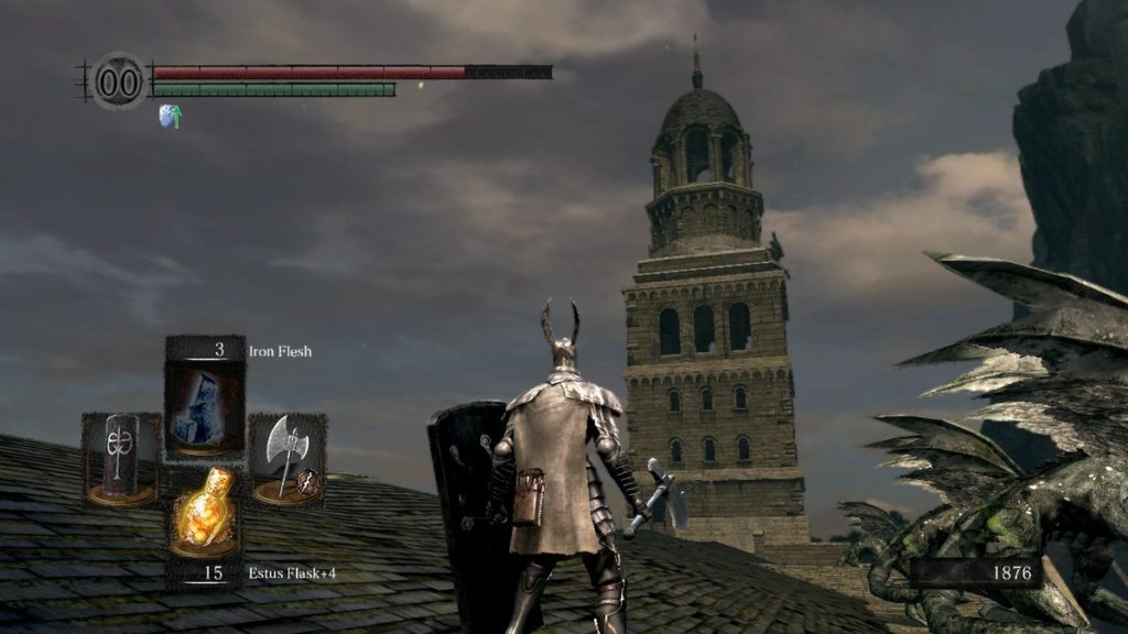 The chosen undead stands before the Undead Parish's spire, which hides the first bell of awakening