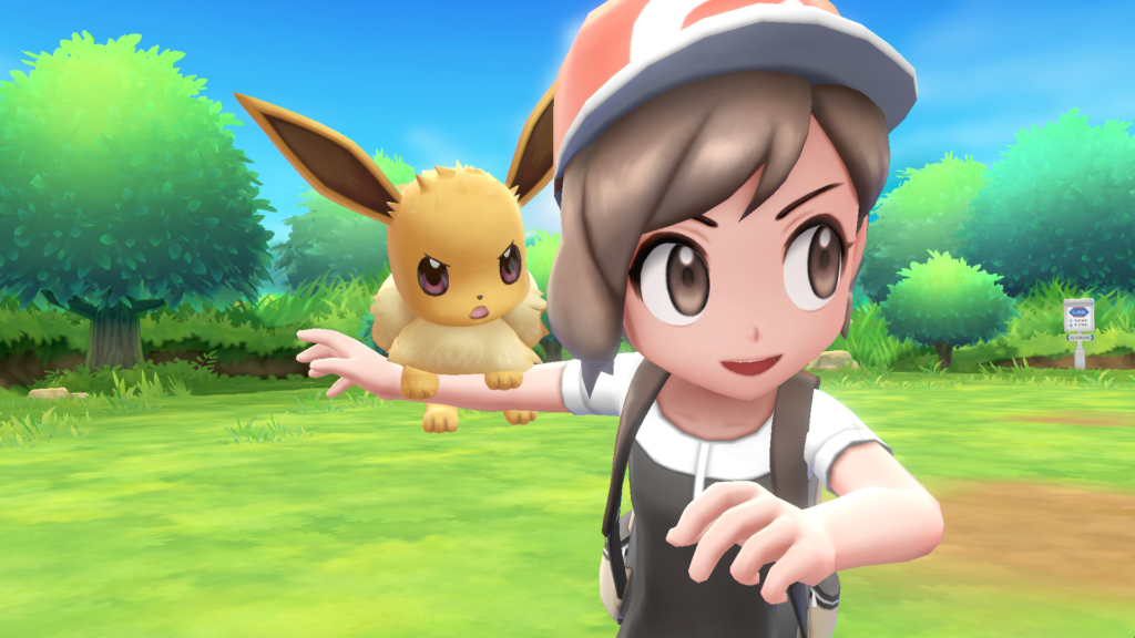An angry Eevee is on its trainer's shoulder, about to jump into battle.