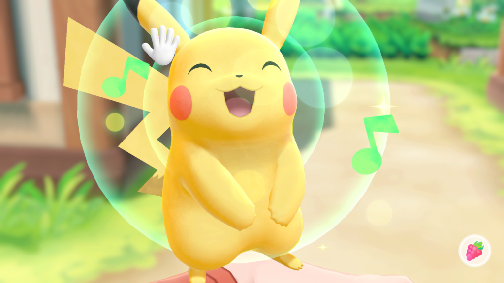 Pikachu sings his delight while being patted.