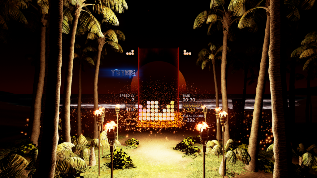 Palm trees sit either side of the game space.