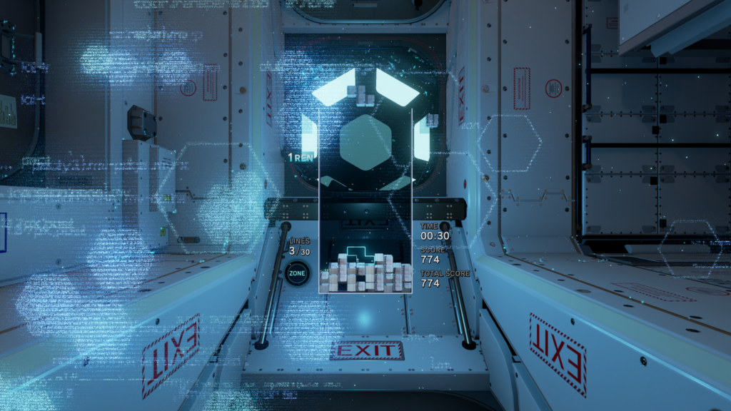 The backdrop of this level is a space station.